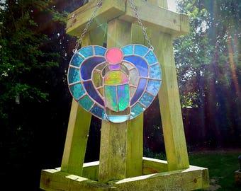 Scarab beetle suncatcher stained glass Egyptian worship sun God deity amulet rebirth khepri heart beetle mourning memorial death