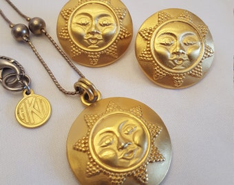 Vintage ANNE KLEIN Sun Face Necklace and Earring Set