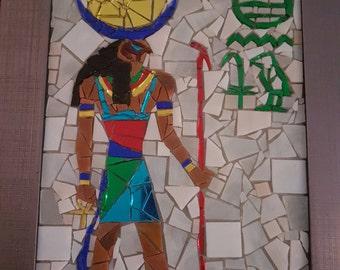 Mosaic Art - Framed Handcrafted Original Design - Egyptian Pharaoh / God Khonsu
