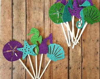 Under the Sea Cupcake Toppers, Mermaid Cake Toppers, Mermaid Birthday Party Decorations, Under the Sea Baby Shower, Little Mermaid Party