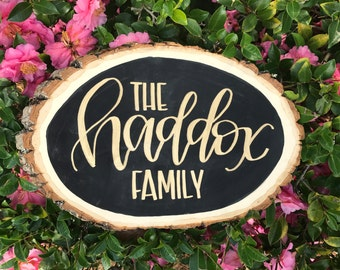 Personalized Family Name Wood Slice