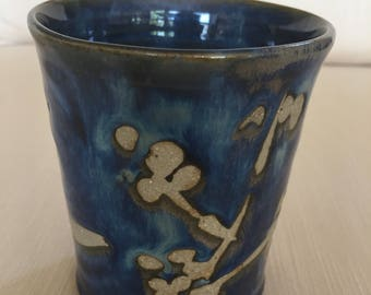 Ceramic tumbler, ceramic cup, blue tumbler, pencil holder