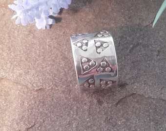 Viking style punched triangle ring in silver