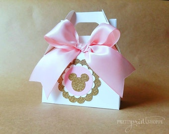 Gold Minnie Mouse Inspired Goodie Boxes Minnie Mouse Party Gold And Pink Minnie  Mouse Baby Shower