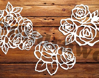 SVG Rose pattern, Roses for carving, cutting template Instal Download Dies cutting Silhouette Cameo ETSYPoliDrawe