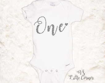 "First Birthday ""One"" Onesie / baby girl outfit / 1st bday / cake smash"