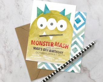 Monster Mash Birthday Party! - Personalized Invitations - Hand Painted Water Color - Handwritten - Printed - Boy - Girl