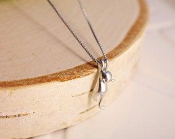 Cat Necklace & Pendants. Kitty Necklace. Silver Cat. Women/ Girls Jewelry 925 Sterling Silver