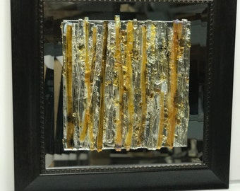 Fused Glass Amber Abstract Wall Art