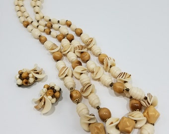 Stunning West Germany Wood, Carved, and Shell Beaded Double Strand Necklace and Clip Earring Set