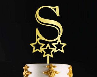 Letter S cake topper, Single Letter Monogram Wedding Cake Topper, Birthday Cake Topper Letter Monogram in Gold Color or Custom, CT#015