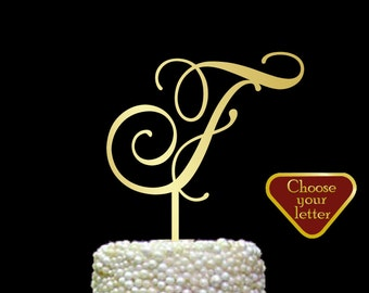 Letter F cake topper, Single Monogram Cake Topper, initial cake topper, gold letter cake topper, Wedding Single Letter Cake Topper f, CT#013