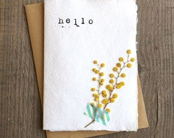 "pressed flower notecard on recycled paper - ""hello"""