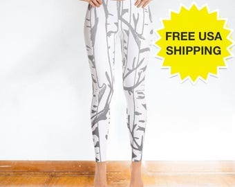 White Leggings Hand Drawn with Silver Birch Tree Branch and Forest Pattern - Print Leggings, Women's Gift, White Pants - FREE SHIPPING