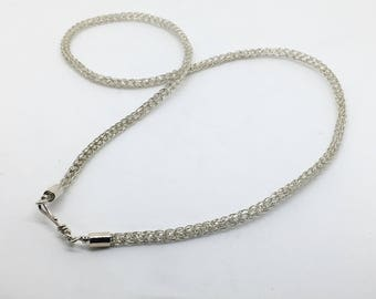 Viking Knit Necklace - Woven Jewelry - Knitted Jewelry -  Handmade Chain - Simple Silver Everyday Necklace - Gift for Her - Artisan Jewelry