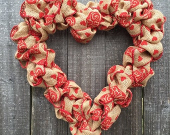 Valentine's Day wreath burlap heart wreath valentine decor