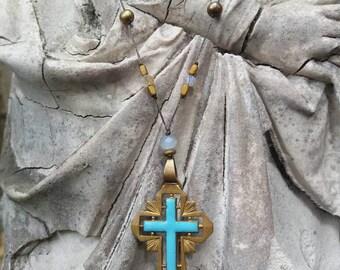 Turqouise enamel enlayed Art deco brass cross necklace