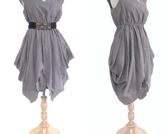 V Neck Pleated Dress,  Gray Pleated Dress, Knee Length Dress, Women Short Gray Dress - V neck Dress Size S M L XL - SD003