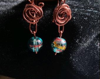 Delicate Desert Rose and Green Bead Dangle Earrings