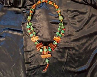 Exception-1 necklace, coral, Jade, Turquoise and Jasper.
