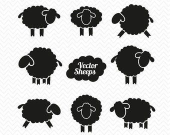 Sheep bundle Silhouette- Cricut Explore- Sheep dxf, png, eps, svg- for Commercial use- Instant Download- Silhouette cameo- Vinyl Clipart