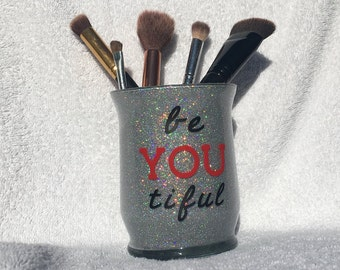 Be YOUtiful Silver Glitter Makeup Brush Holder