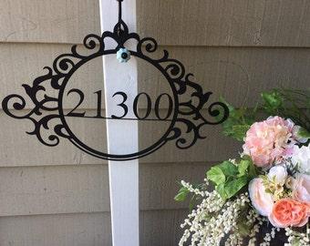 Address Sign with Flourish, Elegant Address Sign