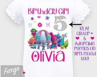 Girl's Troll Birthday Shirt - 4th 5th 6th 7th Birthday Real Glitter Ruffle Shirt