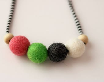Classic 1 - Children's Felt Ball Necklace