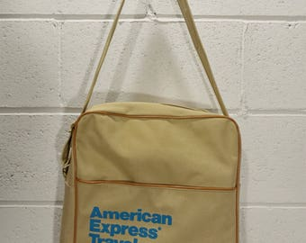 vintage 80's American Express Travel Agency Canvas Carry-On Flight Shoulder Tote Bag