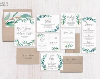 Wedding Invitation | Eucalyptus Wedding Invitation Suite | Greenery Invitation | Leaf Invitation | Printed Wedding Suite | Wreath | Piper