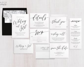 Wedding Invitation Suite | Calligraphy Invitation | Black and White Invitation | Modern Wedding Invitation | Printed Wedding Suite | Whitney
