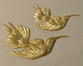 French Hummingbird Victorian Style Brass Stamping Jewelry Finding 2 Sizes 56 - 57J