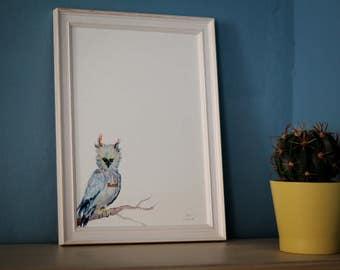 screaming feminist harpy eagle, feminism poster, cute owl, feminist gift, girls bedroom decoration, best friend gift, watercolor, art print