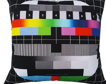 Bright Modern Handmade Pillow/Cushion with Test Card Design. On-off design.