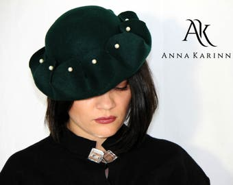 Hat, Felt Hat, Dark green hat in 100 % wool felt, Dark green felt hat.