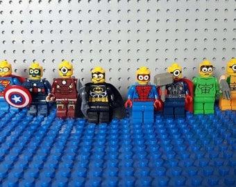 x8 MINION Superheroes Minifigures - Custom Avengers Set - Hulk Superman Batman Thor Ironman Spiderman Wolverine - Lego Compatible