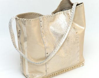 Metallic grey/beige leather bag - handmade!