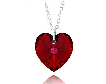 Red Heart Swarovski Silver Necklace, 18""