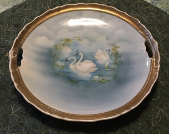 Beautiful White Swan on a Lake China Plate