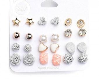 Assorted Shape Stone & Pearl Earrings