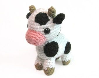 Crochet Amigurumi Cute Spotted Cow Stuffed Animal Plush Toy Handmade