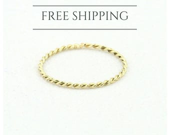 Twist Ring - 14k Solid Gold Twisted Rope Wedding Band - Twist Stacking Ring -  1.0mm Wedding Ring