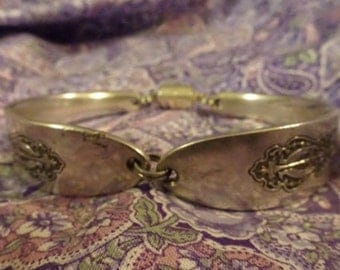 "Antique Silver Plate Spoon Bracelet - Oneida Community ""Bird of Paradise"" 1923"