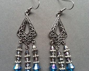 Silver Filigree Teal Crystal Chandelier Earrings