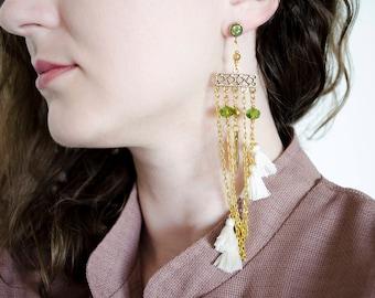 Chain long earrings  White small tassel  Gypsy earrings  Fashionable earrings Gold feather earrings Everyday summer earrings Thread earrings