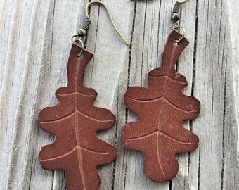 Leather Oak Leaf Earrings