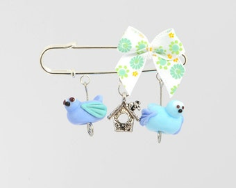 Two Glass Bird Bead Brooch with Charm