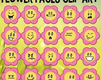 Flower Face Clip art, Spring Clip Art, Daisy Clip Art, Flower Emoji, Spring Season, School Download, Flower Cartoons, Flower Download