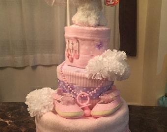 Pastel Poodle Diaper Cake